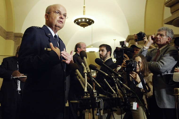 Hayden speaks as he departs a closed-door session with the House Select Committee on Intelligence at the Capitol in Washington