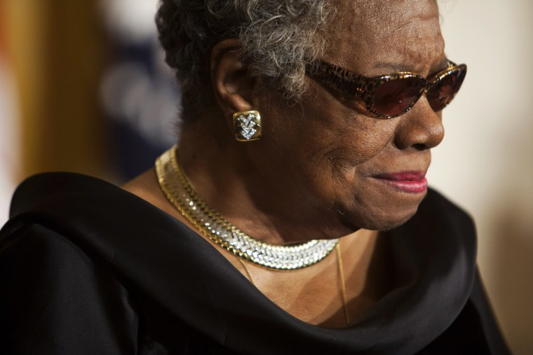 US poet Dr. Maya Angelou sits in the East Room of the White House during a ceremony honoring her and 14 other Medal of Freedom recipients in Washington DC, USA, 15 February, 2011.