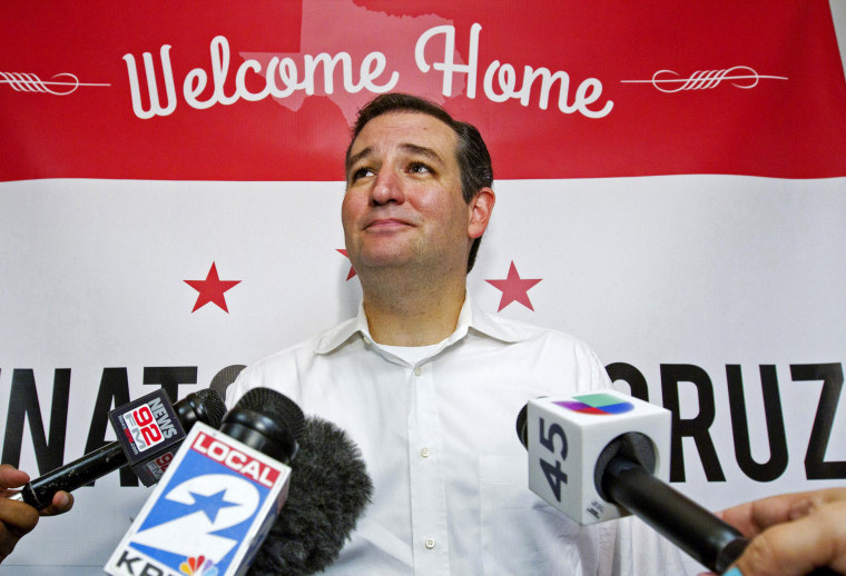 U.S. Senator Ted Cruz speaks to the media after a welcome home rally in Houston