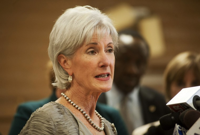 U.S. Health and Human Services Chief Kathleen Sebelius takes questions during a press conference about the Affordable Care Act, October 24, 2013 in Phoenix, Arizona.