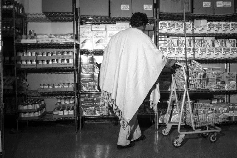 A patron at the Bed-Stuy Campaign Against Hunger food pantry.