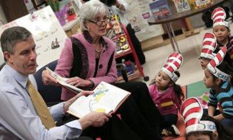 Education Secretary Arne Duncan and HHS Secretary Kathleen Sebelius at a Head Start program in Maryland in March.