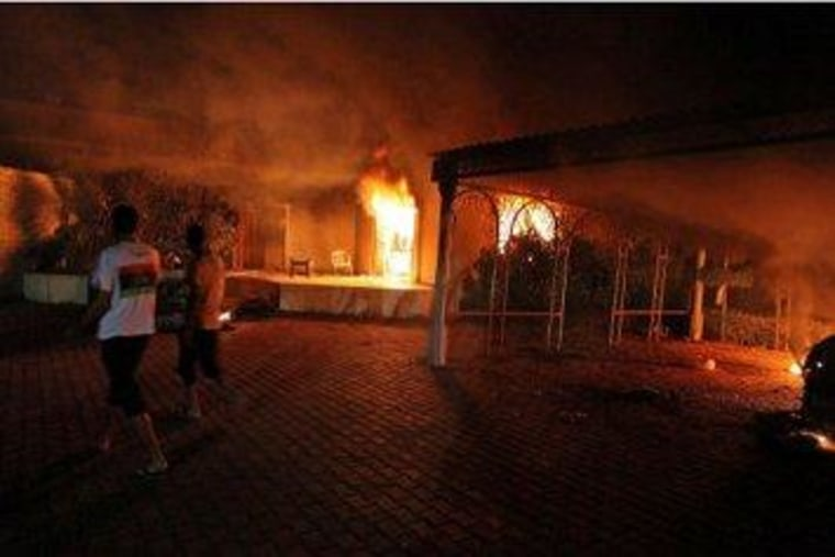 A fire burns at the U.S. consulate in Benghazi last month.