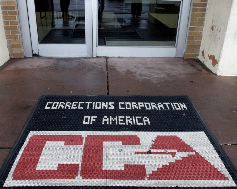 A door mat is seen Wednesday, Dec. 10, 2008, outside Corrections Corporation of America (CCA) detention center that the private prison contractor runs for the government.