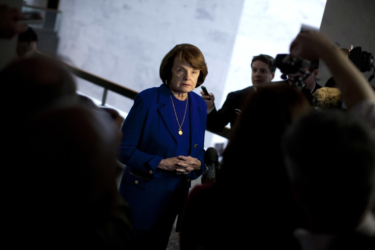 Senate Intelligence Committee Chair Sen. Dianne Feinstein, D-Calif. speaks with reporters on Capitol Hill in Washington, Tuesday, March 5, 2013, after a closed-door committee vote on CIA director nominee John Brennan.