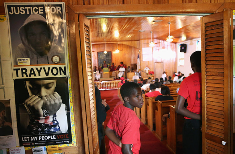 Parishioners attend Sunday service at Allen Chapel AME church in the historic black neighborhood of Goldsboro on July 14, 2013 in Sanford, Florida.