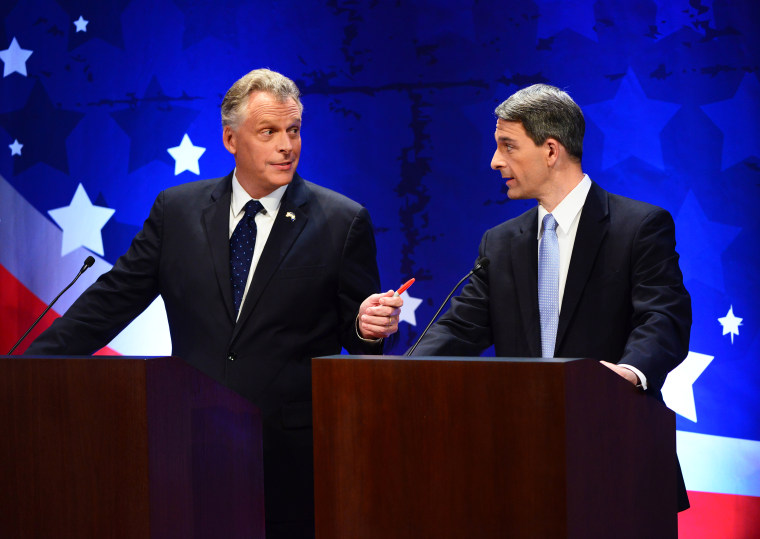 Virginia gubernatorial candidates Terry McAuliff and Ken Cuccinelli participate in a debate on September 25, 2013 in McLean, Va.