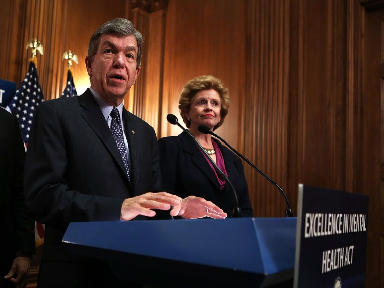 U.S. Senators Roy Blunt and Debbie Stabenow speak during a news conference about the Excellence in Mental Health Act, February 7, 2013 in Washington, DC.