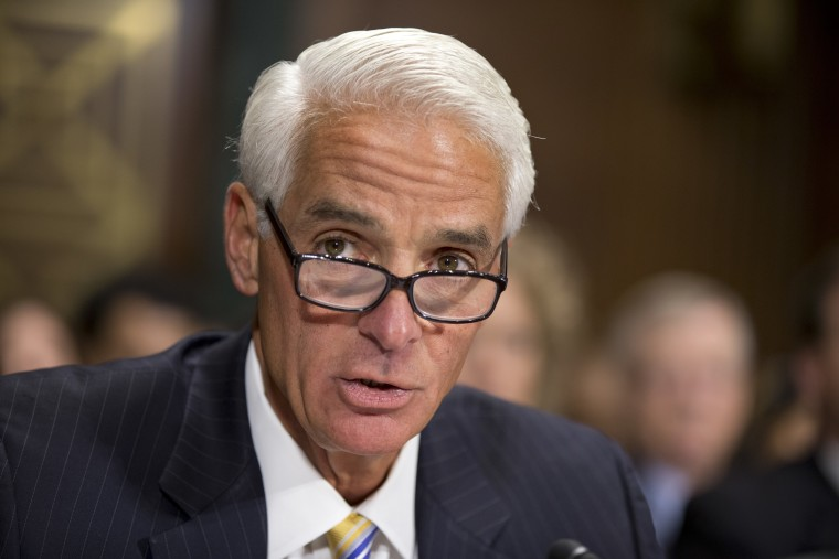 Former Florida Gov. Charlie Crist delivers a statement before the Senate Judiciary Committee, Nov. 1, 2013, on Capitol Hill in Washington.