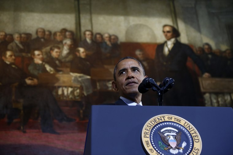 President Barack Obama speaks at Boston's historic Faneuil Hall about the federal health care law, Wednesday, Oct. 30, 2013.