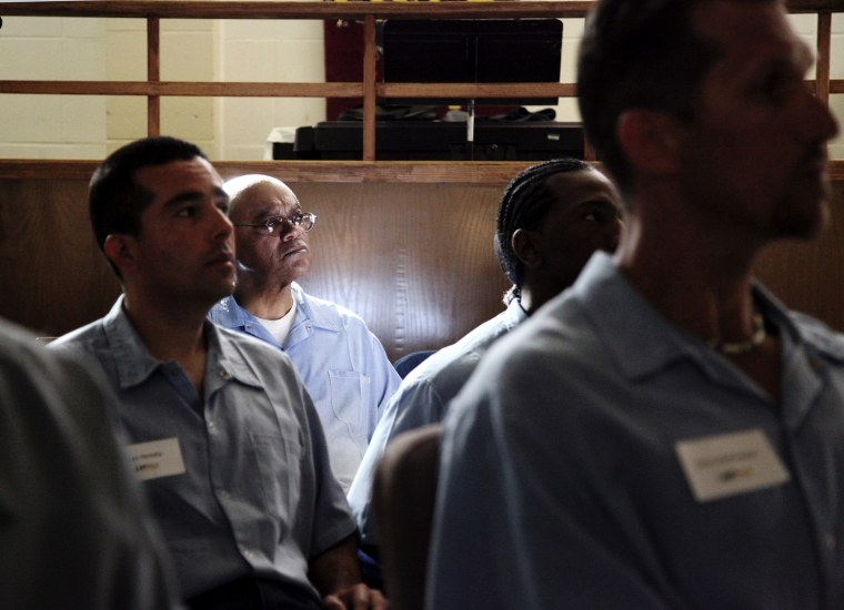 Inmates in the Last Mile program at San Quentin State Prison prepare to present their startup ideas in San Quentin