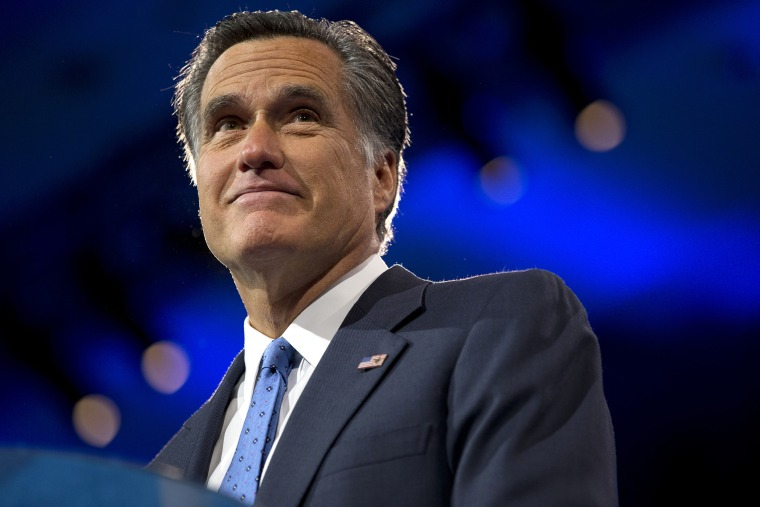 Former Massachusetts Gov., and 2012 Republican presidential candidate, Mitt Romney pauses while speaking at the 40th annual Conservative Political Action Conference in National Harbor, Md., Friday, March 15, 2013.