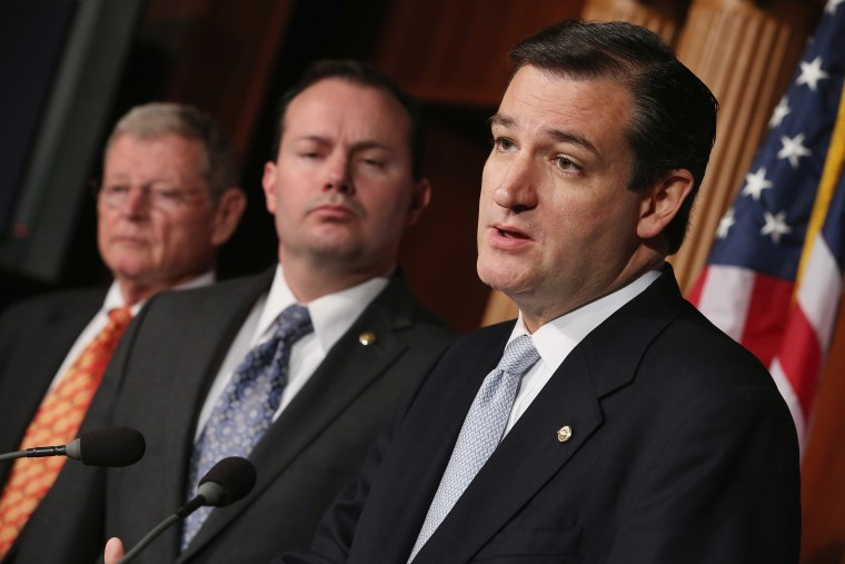 Sen. Ted Cruz (R-TX), Sen. Mike Lee (R-UT) and Sen. James Inhofe (R-OK) announce their plan to defund Obamacare.