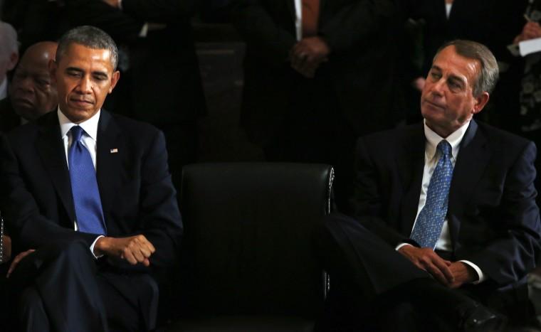 Speaker of the House John Boehner, attends a memorial service for former Speaker Tom Foley on Capitol Hill, in Washington, DC, October 29, 2013.