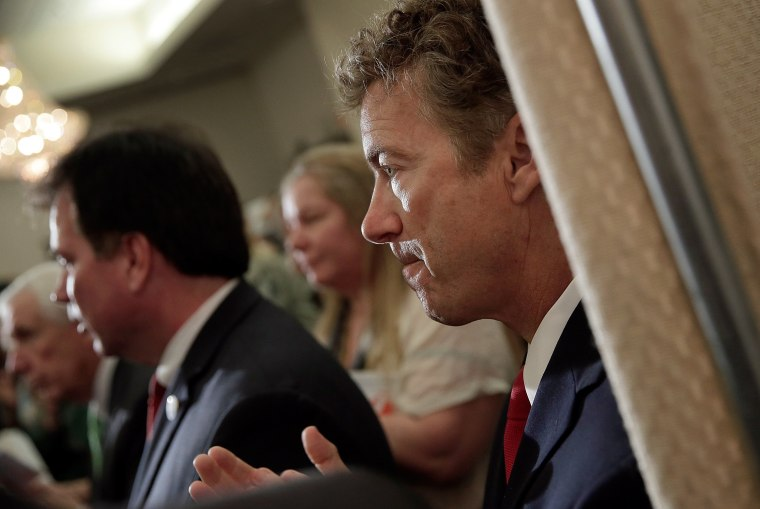 """U.S. Sen. Rand Paul at a """"Get out the Vote"""" rally for Ken Cuccinelli, October 28, 2013 in Fairfax, Virginia."""