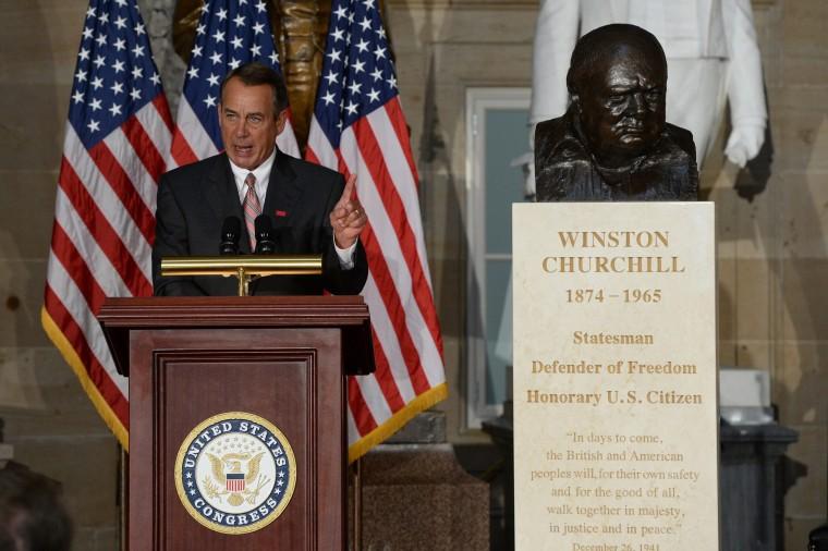 House Speaker John Boehner delivers remarks in Statuary Hall on Capitol Hill in Washington DC, October 30, 2013.