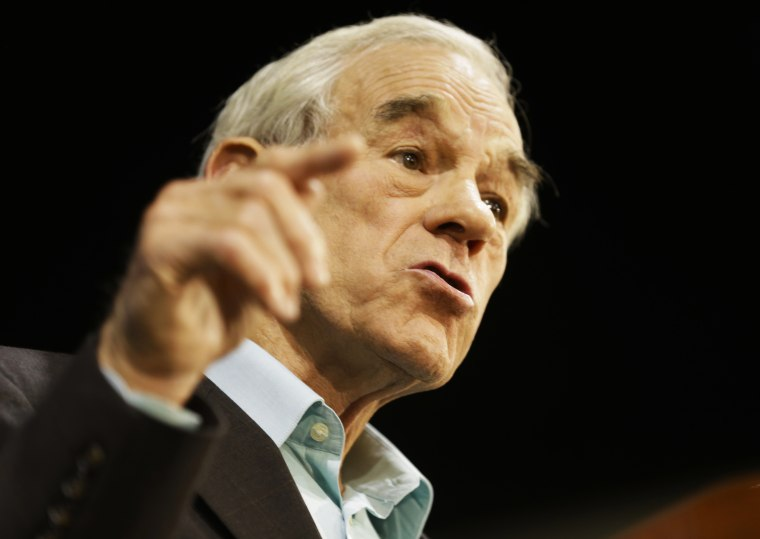 Former Congressman Ron Paul speaks at a rally for Republican gubernatorial candidate Ken Cuccinelli in Richmond, Va., Monday, Nov. 4, 2013.