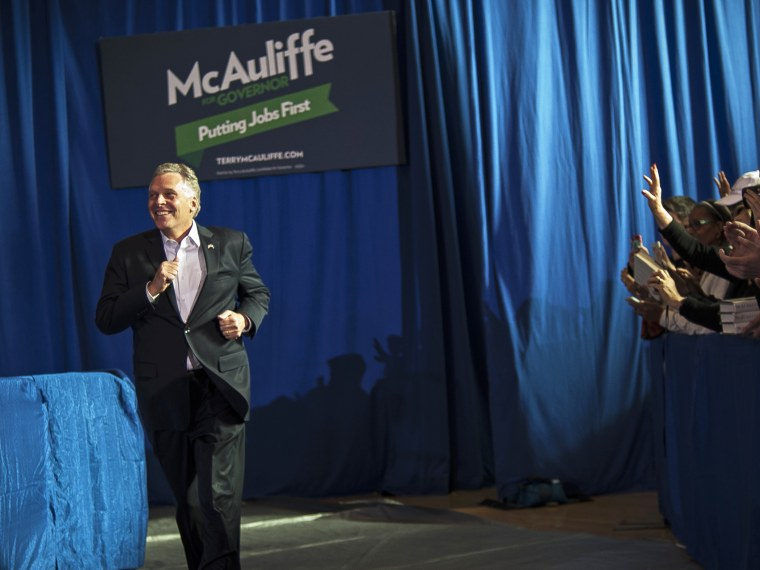 Terry McAuliffe campaigns at an event in, Arlington, Virginia, November 3, 2013.