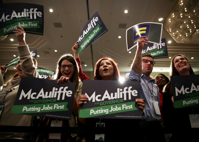 Supporters participate in the election night event of Democratic Virginia gubernatorial candidate Terry McAuliffe, November 5, 2013 in Tysons Corner, Virginia.