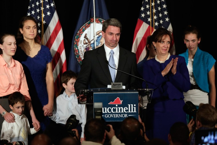 Virginia Attorney General Ken Cuccinelli concedes the state governors race to Democrat Terry McAuliffe before supporters November 5, 2013 in Richmond, Virginia.