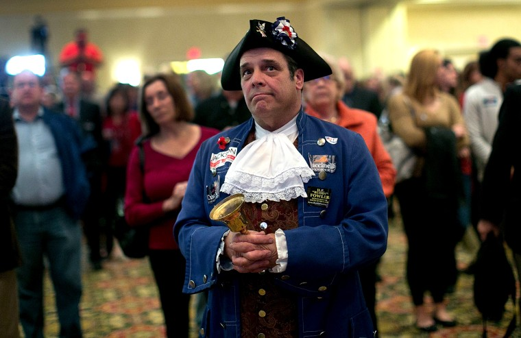 Tea Party member John Wallmeyer watches results from the Virginia Governor's race
