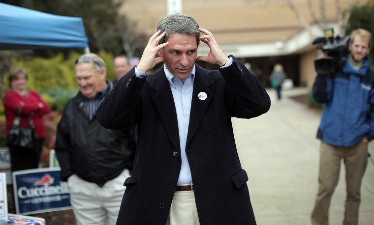 Virginia Attorney General Ken Cuccinelli at Atlee High School in Mechanicsville, Virginia on November 5, 2013.