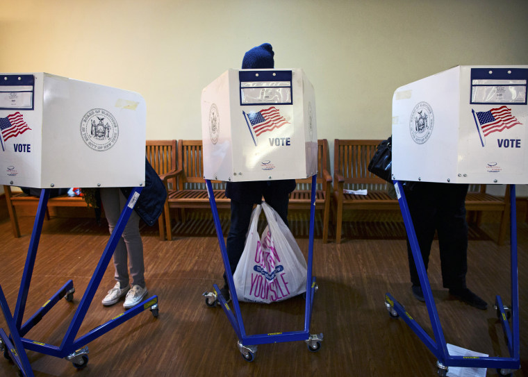 People cast their votes in New York November 5, 2013.