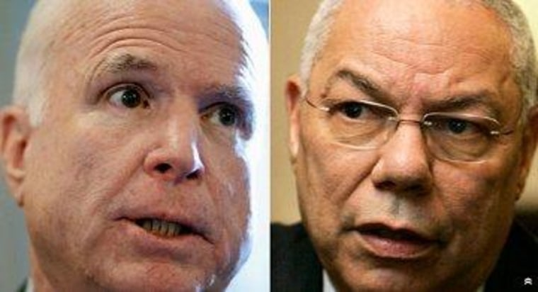 McCain blames Powell for Iraq war
