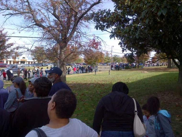 Early voting begins in Prince Georges County, Maryland - 6-hour wait in line to vote on first day of early voting in MD.