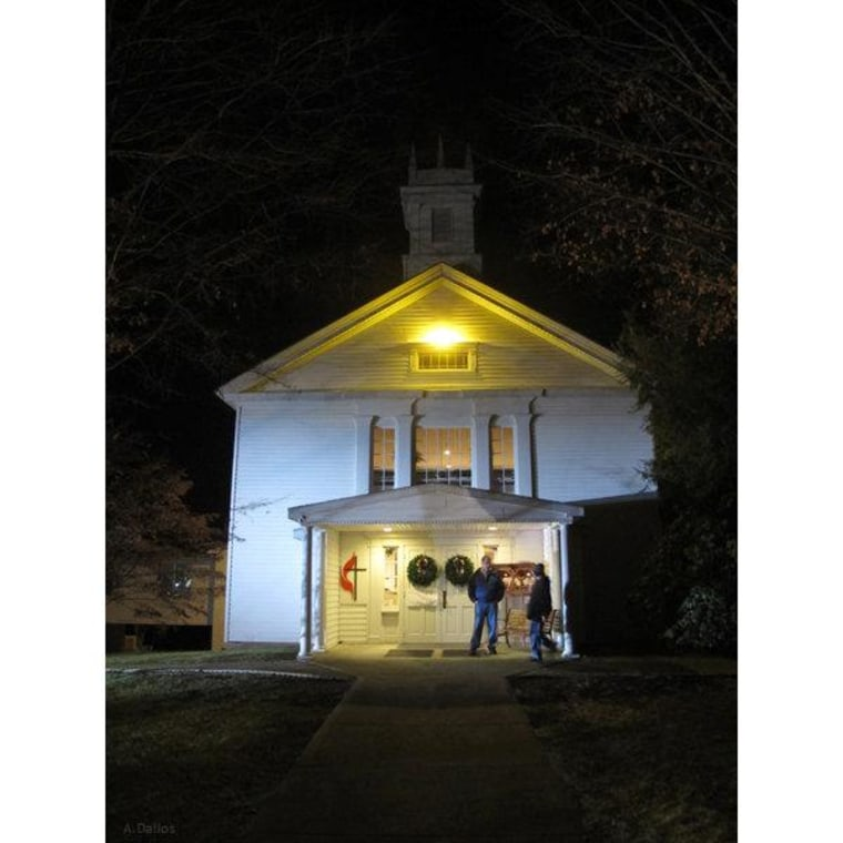 Mourners arrive for the Newtown Church Vigil at the Newtown Congregational Church, Newtown, CT