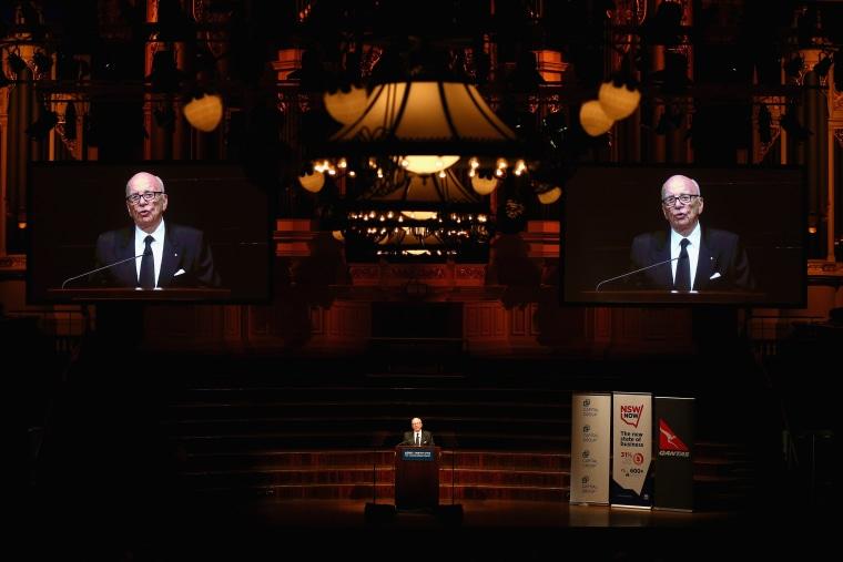 News Corp executive chairman, Rupert Murdoch talks on October 31, 2013 in Sydney, Australia.
