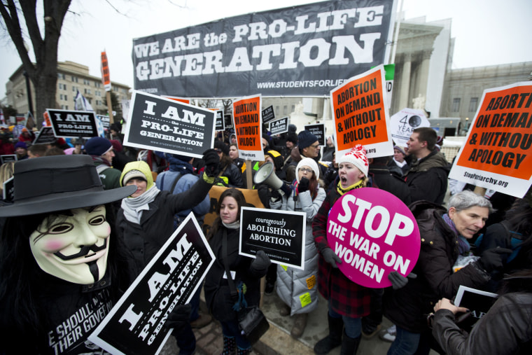 Pro-abortion rights activists, rally face-to-face against anti-abortion demonstrators as both march in front of the U.S. Supreme Court in Washington, D.C., January 25, 2013.