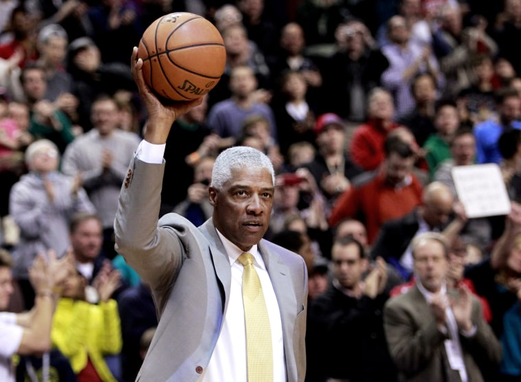 Hall of Fame Basketball player Erving brings out the game ball at the start of the Pacers versus the 76ers NBA basketball game in Philadelphia