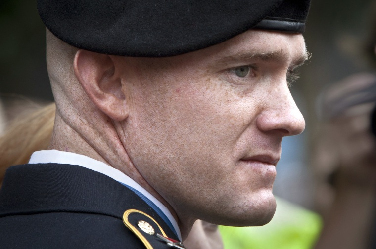 Medal of Honor recipient U.S. Army Staff Sergeant Ty Carter is seen leaving the National September 11 Memorial in New York