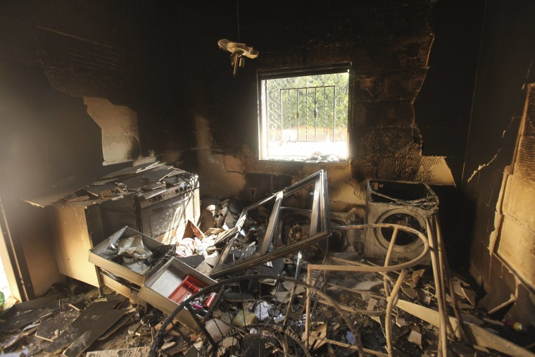 An interior view of the damage at the U.S. consulate in Benghazi, Libya, September 12, 2012.