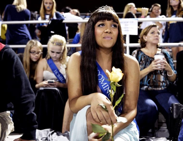 Cassidy Campbell, 16, attends the 2013 homecoming football game for Marina High School on Friday, Sept. 20, 2013 in Huntington Beach, Calif.  Campbell was the first transgender homecoming queen for Marina High School.