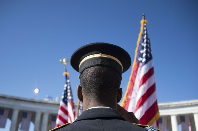 A member of the US Army Honor Guard salutes as the colors are presented during a Veteran's Day ceremony at Arlington National Cemetery in Arlington, Va. on Nov. 11, 2013.