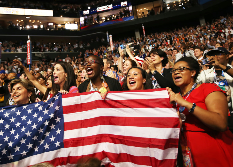 Obama supporters cheer during the final day of the Democratic National Convention on September 6, 2012 in Charlotte, North Carolina.