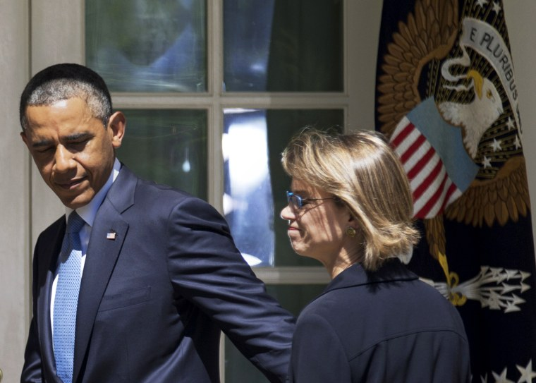 President Obama walks towards the Oval Office with Cornelia Pillard, June 4, 2013.