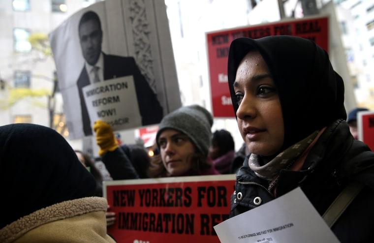 Immigration Reform Advocates March To Pressure Republican Congressman