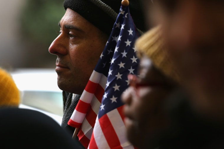 Immigration reform advocates demonstrate in New York City on November 12, 2013.