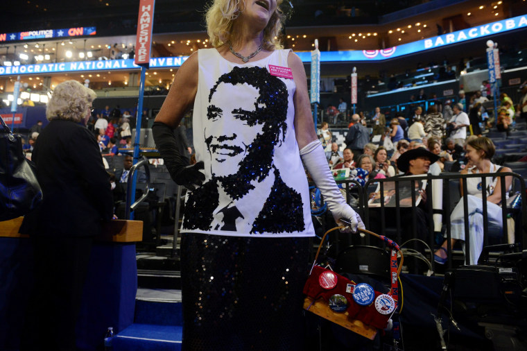 Image: Kelly Jacobs from Mississippi before the start of the 2012 Democratic National Convention, at Time Warner Cable Arena in Charlotte, North Carolina, September 4, 2012.