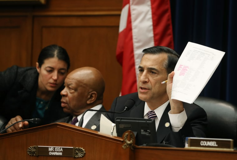 Chairman U.S. Rep. Darrell Issa (R-CA) questions information technology officers during a House Oversight and Government Reform Committee hearing on the Affordable Health Care Act roll out November 13, 2013 in Washington, D.C.