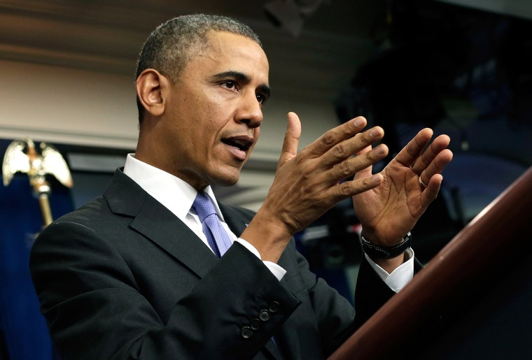 President Barack Obama speaks on the Affordable Care Act in the White House briefing room on Nov. 14, 2013 in Washington, DC.