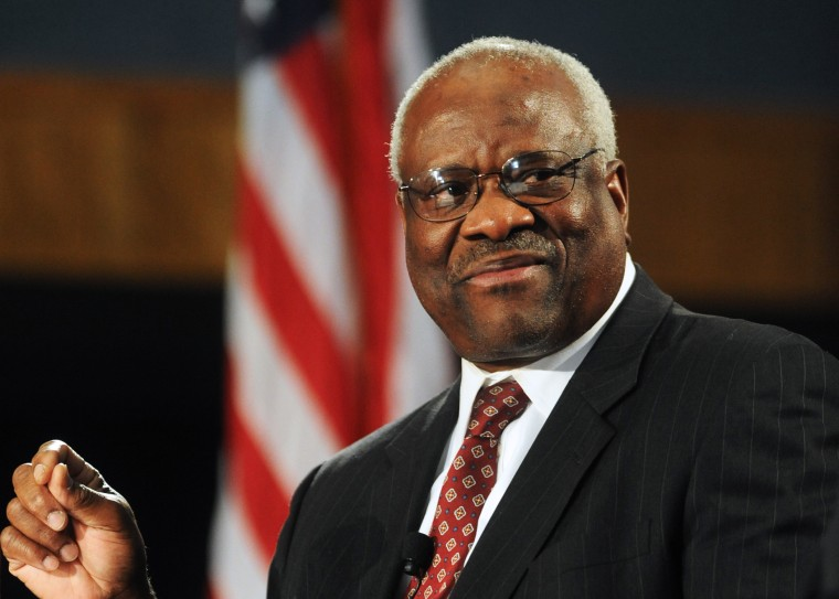 Supreme Court Justice Clarence Thomas is on stage at the Duquesne University School of Law in Pittsburgh, April 9, 2013.