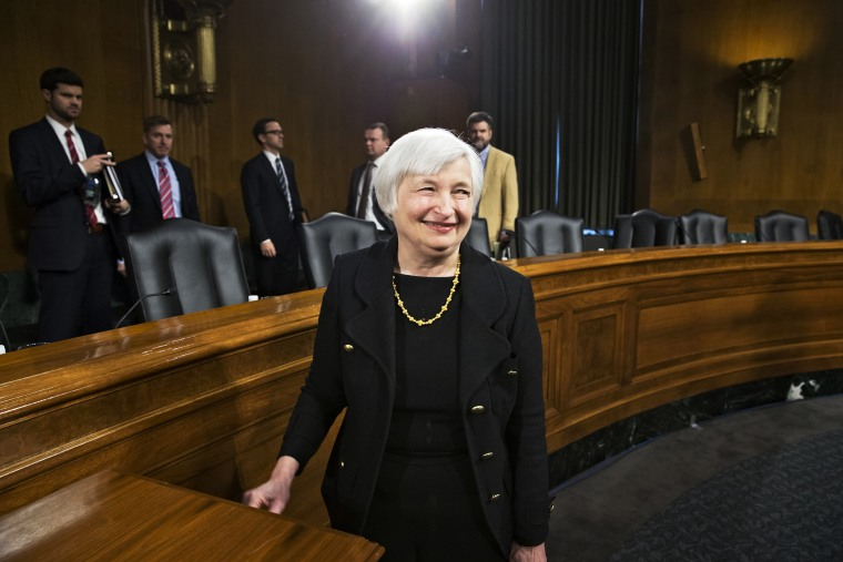 Janet Yellen smiles after finishing her confirmation hearing, Nov. 14, 2013.
