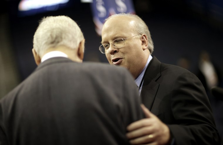 Karl Rove, former Senior Advisor and Deputy Chief of Staff to former President George W. Bush, on the floor of the Republican National Convention in Tampa, Fla., on Aug. 27, 2012.