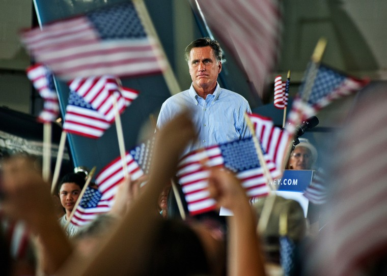 Mitt Romney addresses the audience at a GOP rally in Virginia Beach, Va., Sept. 8, 2012.