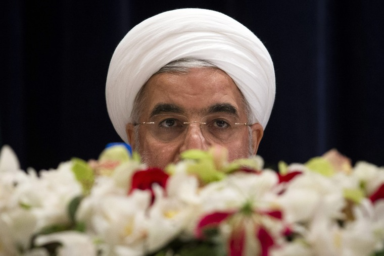Iranian President Hassan Rouhani speaks during a news conference at the Millennium Hotel in New York City on Sept. 26, 2013.
