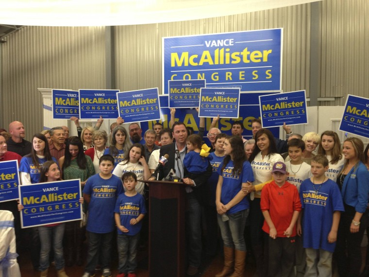 Republican businessman Vance McAllister is pictured after winning a special election in New Orleans, Louisiana November 16, 2013.